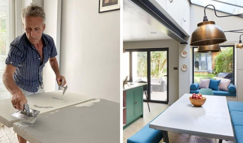 Microcement table and worktop by Ferri Interiors