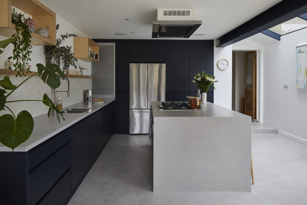 mid grey microcement floor and kitchen island
