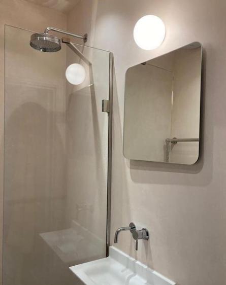 A pink tadelakt bathroom by Ferri Interiors in London